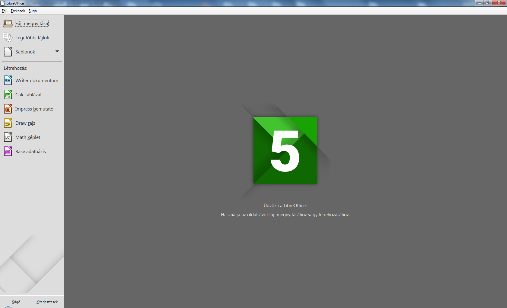 LibreOffice 5 - első indulás