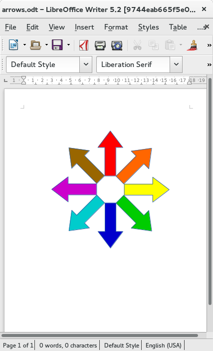Colorful rotated arrows in an ODF document in LibreOffice Writer